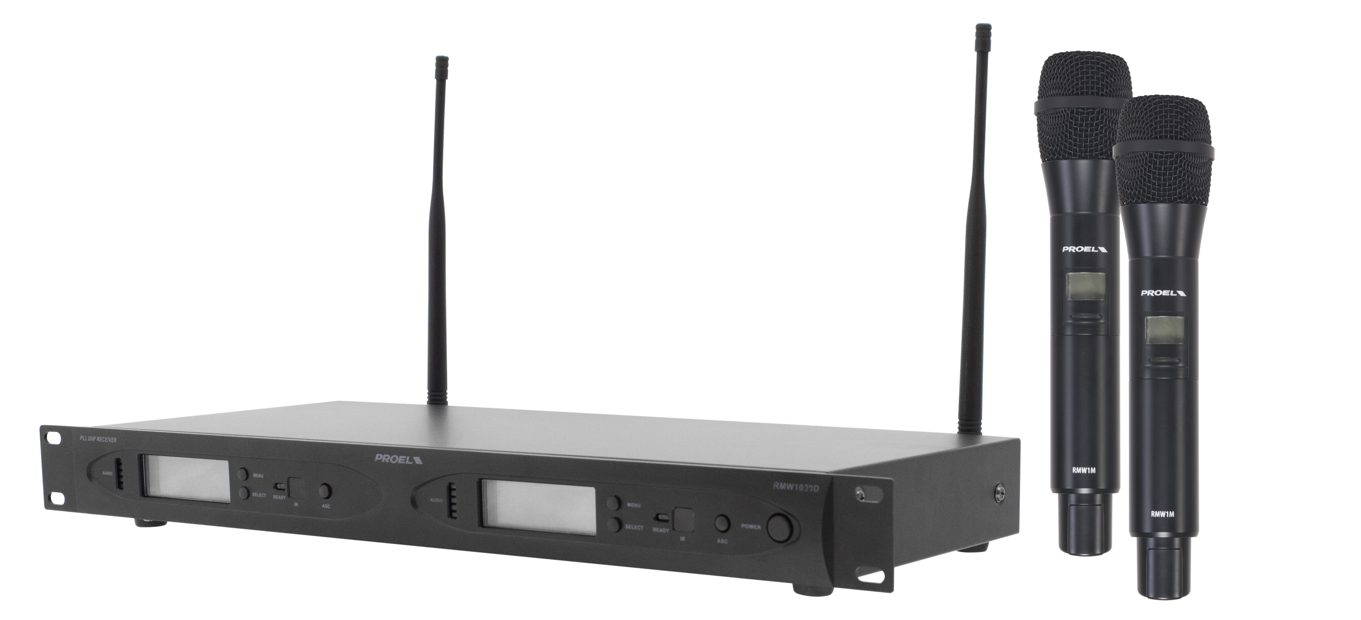 PROEL RMW1000DM - Radiomicrofono Handheld �doppio canale �UHF �uscite indipendenti �1U rack - Voce - Audio Microfoni - Wireless Voce